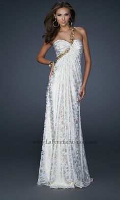 One Shoulder White Gold Prom Dress by La Femme 17805