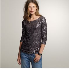 J crew WHITE sequin top Reposh! Great top, just doesn't look right on me J. Crew Tops Tees - Long Sleeve