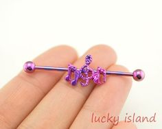 Purple music notes industrial barbell.