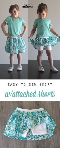 Add fabric to purchased shorts to make a cute skirt with attached shorts - perfect for school playgrounds.