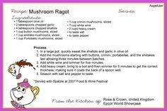 Click this image to show the full-size version. Disney Menus, Disney Dishes, Disney Desserts, Disney Food, Disney Recipes, Walt Disney, Old Recipes, Vintage Recipes, Cookbook Recipes