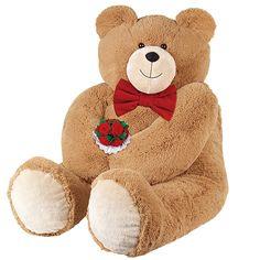 4' Big Hunka Love® Bear with Bowtie & Roses