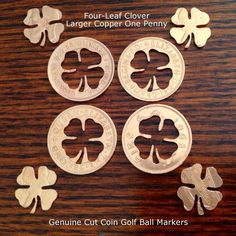 Good Luck Cut Coin Golf Ball Marker Four Leaf Clover Copper Puzzle Penny Token