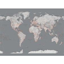 1Wall Modern Silver Map Wallpaper Mural at wilko.com