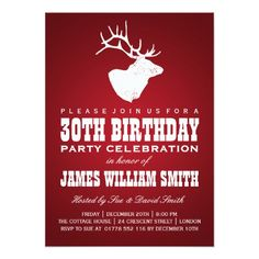 Modern 30th Birthday Party Deer Red Card