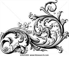 floral, boekrol Bekijk Grotere Illustratie