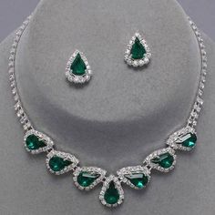 Emerald green diamante teardrop necklace set (available in other colours) from WWW.GlitzyGlamour.co.uk