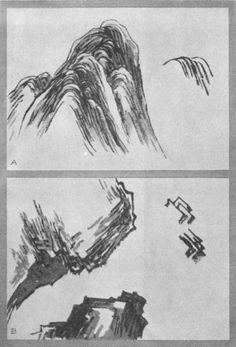 Peeled Hemp-Bark Method for Rocks and Ledges (a) The Axe strokes (b). Plate XXIII. Chinese Landscape Painting, Japanese Landscape, Japanese Painting, Chinese Painting, Japanese Art, Landscape Paintings, Sumi E Painting, Watercolor Techniques, Art Techniques