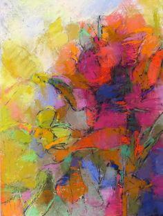 Flower Abstraction 22x16 pastel on paper by Debora L. Stewart