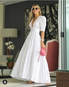 Epliz Deep V-Neck Solid White Fairy Maxi Dress - White Dresses - Ideas of White Dresses White Maxi Dresses, Pretty Dresses, Beautiful Dresses, Dresses With Sleeves, Summer Dresses, White Maxi Dress Casual, White Dress Outfit, Elegant White Dress, White Dress Summer