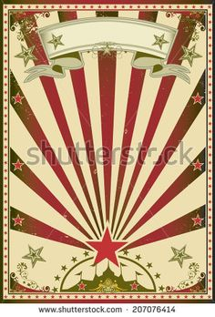 Circus red color. A grunge circus poster with red sunbeams for your advertising. - stock vector