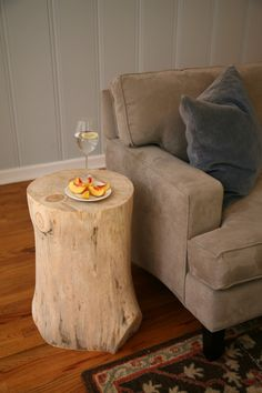 DIY stump table...must make. We have a forest on our land. free table