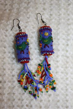 Colorful Singing birds Hungarian felt earrings with by fannabead