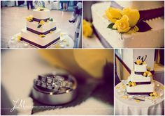 purple & yellow wedding cake