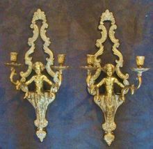 1 of 3 Pairs of Vintage Gilt Metal Cherub Putti Angel Sconces Wall Lamps Candle Holders