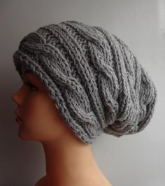 Hand Knit Hat  Slouchy Hat Beanie Knit Cable hat Slouchy Beanie  Oversized Baggy cabled hat women autumn accessory gray winter hat. $28.00, via Etsy.