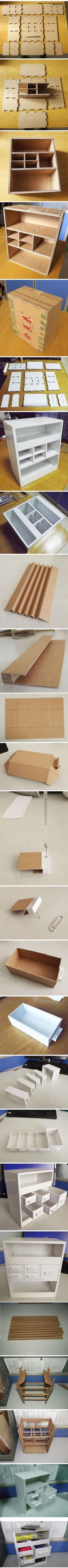 Storage Box with Drawer | Materials: Corrugated Cardboard | Instructions: http://tieba.baidu.com/p/1537506603