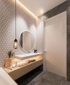 Amazing Inspiration of Elegant Apartment Design Ideas Using Contemporary Interior Features And Tips Elegant bathroom design ideas Bad Inspiration, Bathroom Inspiration, Contemporary Apartment, Contemporary Interior, Contemporary Style, Bathroom Toilets, Small Bathroom, Washroom, Bathroom Faucets