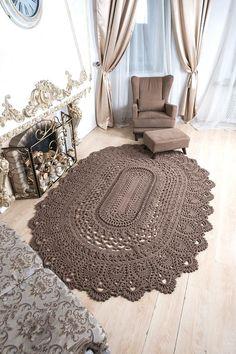 Big crochet rug oval area rug 107 х 77 in doily rug image 1 Beige Carpet, Diy Carpet, Rugs On Carpet, Crochet Carpet, Crochet Home, Doily Rug, Doilies, Shabby Chic Rug, Crochet Rug Patterns