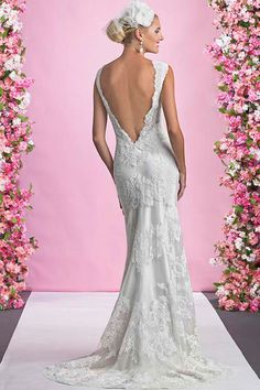 #ALEXIA #WEDDING #BRIDAL Alexia Designs - 1088 - Available in Ivory/Pearl, Ivory and White. Fitted Lace gown with high neckline and low back with a zip