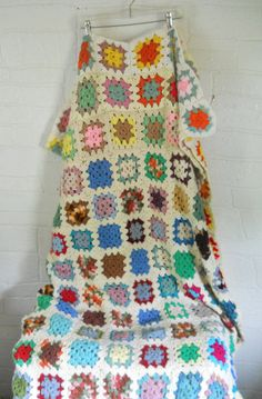 Granny Square Blanket Afghan Bedspread Full Size Bohemian Hippie Boho Bedroom Decor Vintage by #EclecticVintageHome