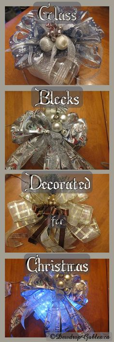 Glass Blocks Decorated for Christmas - Dewdrop Gables Christmas Glass Blocks, Christmas Projects, Diy Christmas, Decorative Glass Blocks, Lighted Glass Blocks, Crafts With Glass Jars, Glass Block Crafts, Glass Cube, Glass Boxes