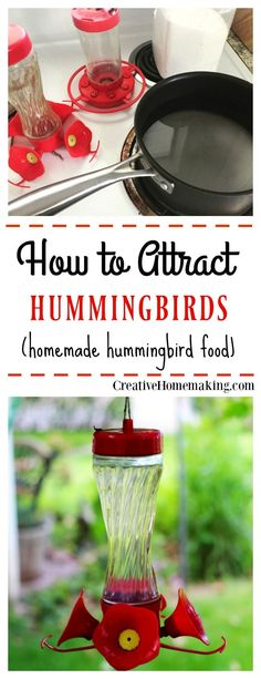 How to make homemade hummingbird food to attract hummingbirds to your yard.