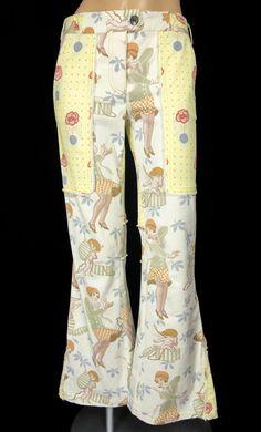 JOHN GALLIANO Cupid Print Pants Size 2 XS Extra Small Bell Bottom Flare Rare  #JohnGalliano #CasualPants