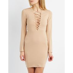 Charlotte Russe Lattice-Trim Bodycon Dress ($20) ❤ liked on Polyvore featuring dresses, etherea, long sleeve v neck dress, beige dress, charlotte russe dresses, v-neck dresses and bodycon dress