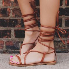 Shoespie Lace-Up Flat Gladiator Sandals