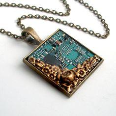 Unisex Circuit Board Necklace - Industrial Techno Geek Steampunk Handmade Jewelry. $48.00, via Etsy.