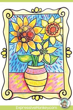 Learn to draw a vase of sunflowers while learning about the artist Vincent van Gogh. A fun way to bring your art history lesson to life! Art History Lessons, Art Lessons For Kids, Art Activities For Kids, Art Lessons Elementary, Art Sub Plans, Art Lesson Plans, Art Classroom Management, Art Critique, Art Criticism