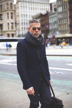 mr wooster // nick wooster, winter style, sunglasses, pinstripe blazer, scarf