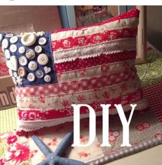 American mini flag pillow with buttons added as stars by Emily Ann.
