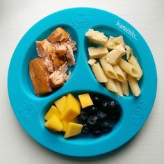 Roasted salmon, pasta, cheese, blueberries and fresh mango
