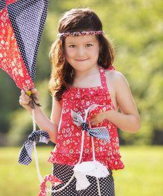 Love this Red Ditsy Swing Around Halter Top - Toddler & Girls on #zulily! #zulilyfinds