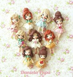 These lovely polymer clay pendants were my inspiration. I'm not decided which artist I love the most Alchemian or Daniella Pupa. Polymer Clay Princess, Polymer Clay Disney, Polymer Clay Fairy, Polymer Clay Figures, Cute Polymer Clay, Polymer Clay Dolls, Cute Clay, Polymer Clay Charms, Polymer Clay Creations