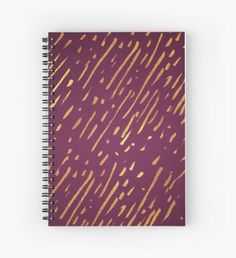 Magenta and Faux Gold Foil Streaks Spiral Notebook
