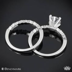 Brilliantly designed, the Benchmark Shared-Prong Diamond Wedding Set is perfect for the lady who likes to make a bolder statement. The <a href='http://www.whiteflash.com/engagement-rings/diamond-settings/benchmark-shared-prong-diamond-engagement-ring-2813.htm'><u><b>Benchmark Shared-Prong Diamond Engagement Ring</b></u></a> shines with 0.32ctw Round Brilliant Diamond Melee (G/SI1)