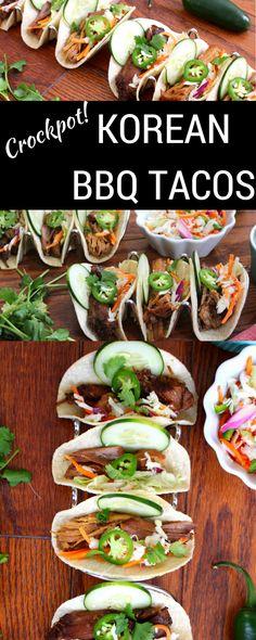Crockpot Korean Barbecue Tacos with Asian Slaw via Cooking (Slow Cooker Recipes Thai) Korean Bbq Tacos, Asian Tacos, Asian Slaw, Slow Cooker Recipes, Crockpot Recipes, Cooking Recipes, Healthy Recipes, Dinner Crockpot, Barbecue Recipes