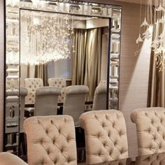 glass mirror in dining room