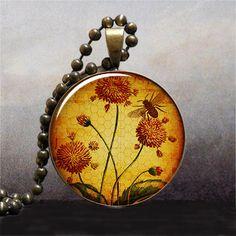 Honey Bee Garden pendant, honey bee necklace charm, honey bee jewelry, honeybee necklace. $8.95, via Etsy.