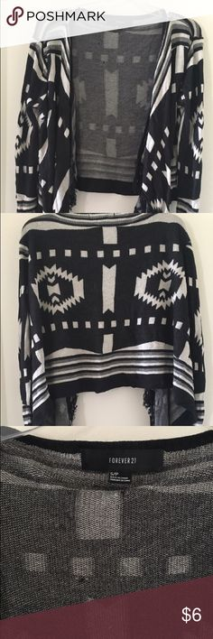 Forever 21 Black and White Cardigan Gently worn and still in great condition! Fringe detail on bottom Forever 21 Sweaters Cardigans