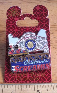 California Screamin' Disney Pin MOC 3D Slider w/ Mickey & Minnie on ParadisePier