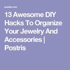 13 Awesome DIY Hacks To Organize Your Jewelry And Accessories Jewellery Storage, Jewelry Organization, Jewellery Display, Organization Hacks, Organizing Ideas, Mini Pond, Diy Hacks, Diy Craft Projects, Storage Solutions