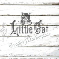 Little Cat Instant Download Transfer Pillows Burlap Linen digital collage sheet  graphic printable graphic No. 106