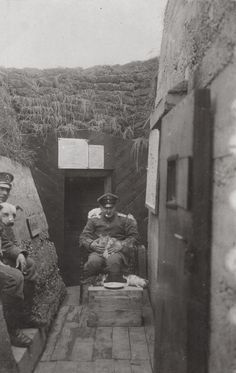 """Caption: """"An [German] officer of Landw.J.R.68 surrounded by kittens south of Metz, France, 1915."""" Life in the trenches was dreary and downcast; keeping pets was something many soldiers did."""