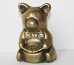 Vintage Brass Teddy Bear Playing Drum by BuyBackYesterday on Etsy, $8.00