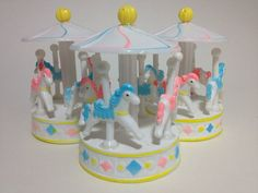 3 Carousel Merry Go Round Cake Toppers by JuliasLovelyCrafts, $6.25
