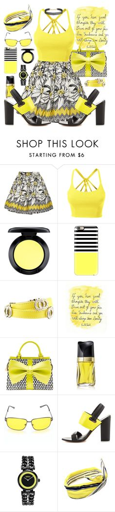 """Floral Skirt - Black & Yellow"" by designcat-colour ❤ liked on Polyvore featuring Alice + Olivia, LE3NO, MAC Cosmetics, Casetify, Bulgari, Betsey Johnson, Estée Lauder, Circus By Sam Edelman, Versus and Humble Chic"